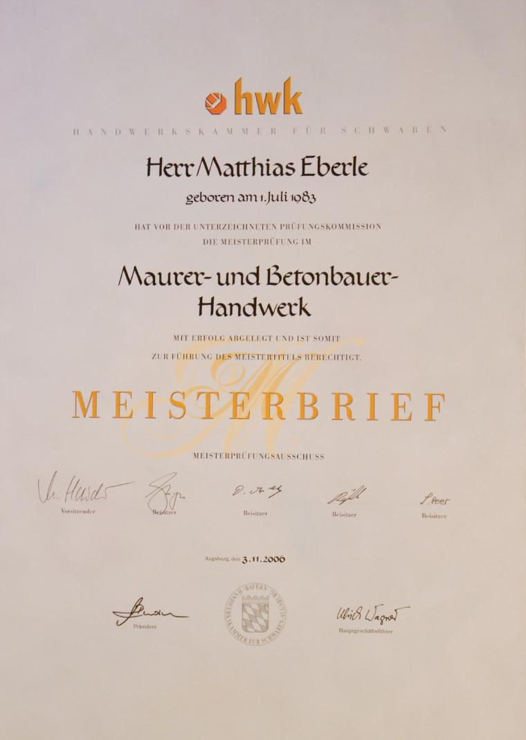 Meisterbrief Matthias Eberle